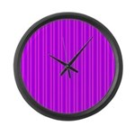 Purple and Pink Stripes Pattern Large Wall Clock