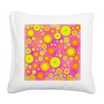Pink Hippie Flower Pattern Square Canvas Pillow