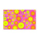 Pink Hippie Flower Pattern 20x12 Wall Decal