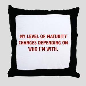 My Level Of Maturity Throw Pillow