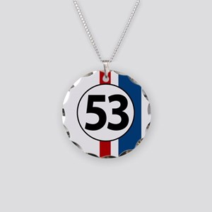 53 red and blue stripes Necklace Circle Charm