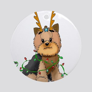 Christmas Yorkie Ornament (Round)