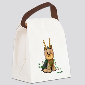 Christmas Yorkie Canvas Lunch Bag