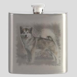 Alaskan Malamute Art Flask