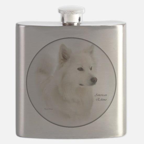 american eskimo dog art round.png Flask