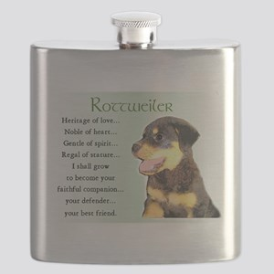 heritage of love rottweiler pup Flask