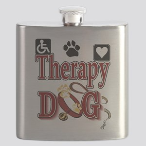therapy dog tee Flask