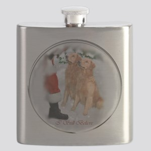 Golden Retriever Christmas Flask
