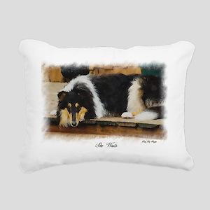 Tri Color Collie Rectangular Canvas Pillow