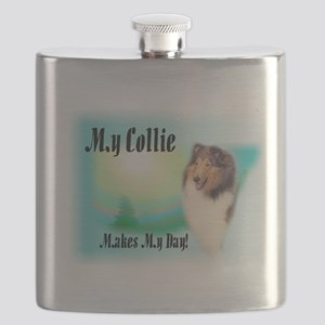 My Collie-Makes my day Flask