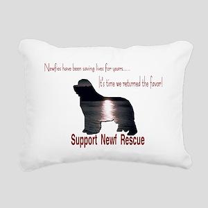 Support Newf Rescue Rectangular Canvas Pillow