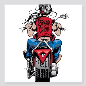 "Biker Chick Square Car Magnet 3"" x 3"""
