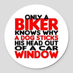 Only a Biker Round Car Magnet