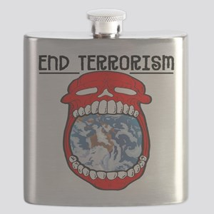 End Terrorism Skull Flask