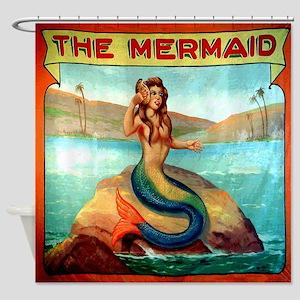 Vintage Mermaid Carnival Poster Shower Curtain