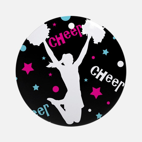 Black | Multi Cheerleader Cheer Round Ornament