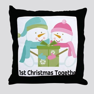 1st Christmas Together Snowmen Throw Pillow