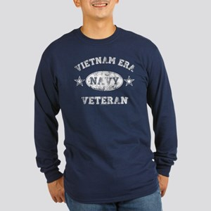 Vietnam Era Vet Navy Long Sleeve Dark T-Shirt