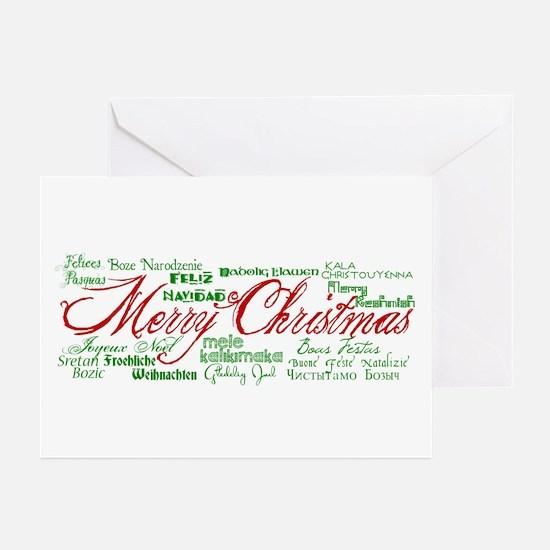 Merry Christmas language Greeting Cards (Pk of 20)