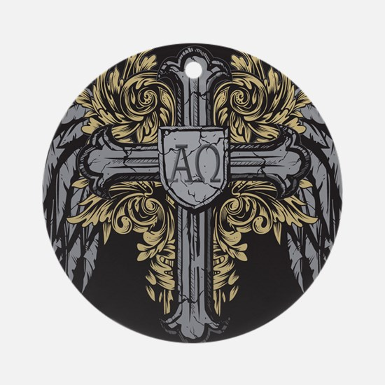 Winged Cross Ornament (Round)