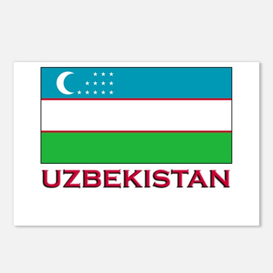 Uzbekistan Flag Stuff Postcards (Package of 8)