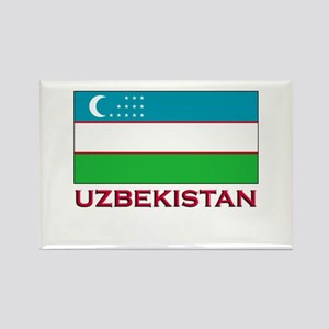 Uzbekistan Flag Stuff Rectangle Magnet