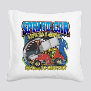 Sprint Car Life Square Canvas Pillow