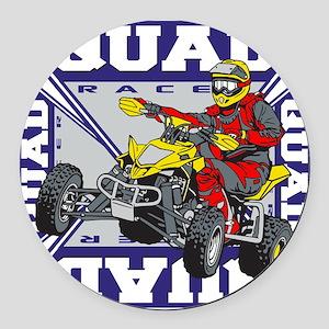 Quad Racer Round Car Magnet
