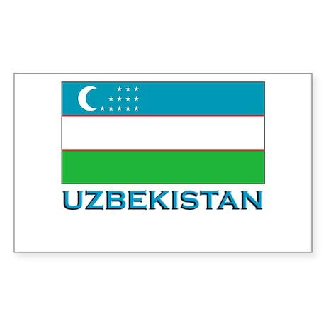 Uzbekistan Flag Gear Rectangle Sticker