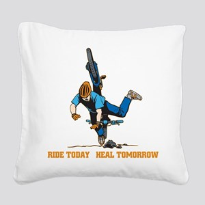 Ride Today Biking Square Canvas Pillow