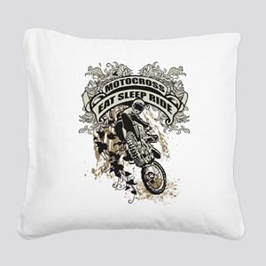 Eat, Sleep, Ride Motocross Square Canvas Pillow