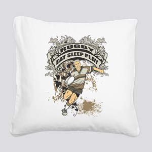 Eat, Sleep, Play Rugby Square Canvas Pillow