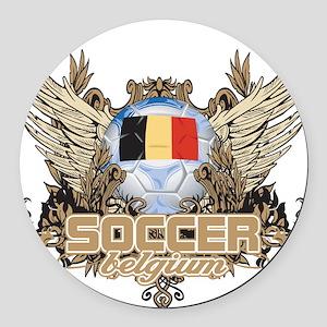 Soccer Belgium Round Car Magnet