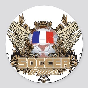 Soccer France Round Car Magnet