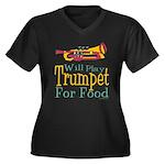 Will Play Trumpet Women's Plus Size V-Neck Dark T-