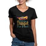 Will Play Trumpet Women's V-Neck Dark T-Shirt