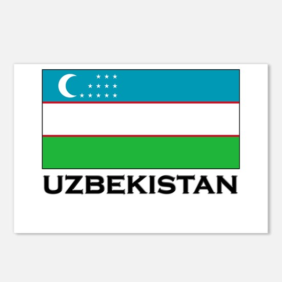 Uzbekistan Flag Merchandise Postcards (Package of