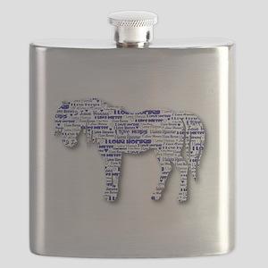 I LOVE HORSES - Regular blue Flask