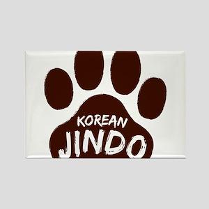 Korean Jindo Paw Print Rectangle Magnet