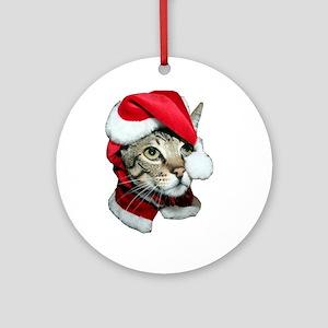 Santa Cat Savannah Ornament (Round)