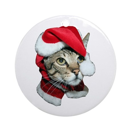 santa cat savannah ornament round by flamincatdesigns