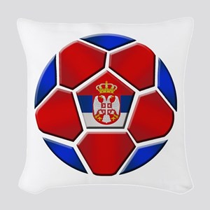 Serbia Soccer Football Woven Throw Pillow