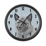Norwegian Elkhound Large Wall Clock