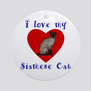 I Love My Siamese Cat Ornament (Round)