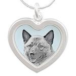 Norwegian Elkhound Silver Heart Necklace