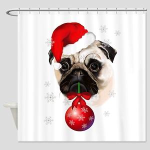 A Very Merry Christmas Pug Shower Curtain