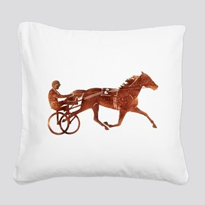 Brown Pacer Silhouette Square Canvas Pillow