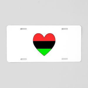 African American Flag Heart Black Border Aluminum