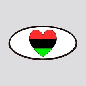 African American Flag Heart Black Border Patches
