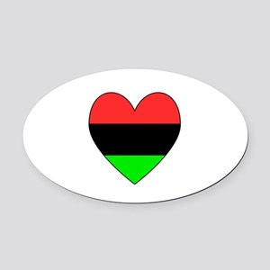 African American Flag Heart Black Border Oval Car